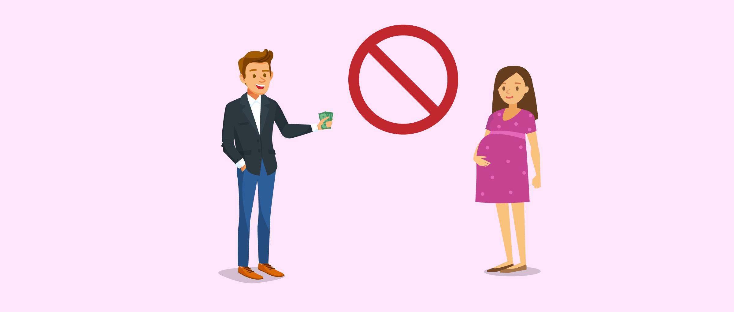 Prohibido pagar a la gestante