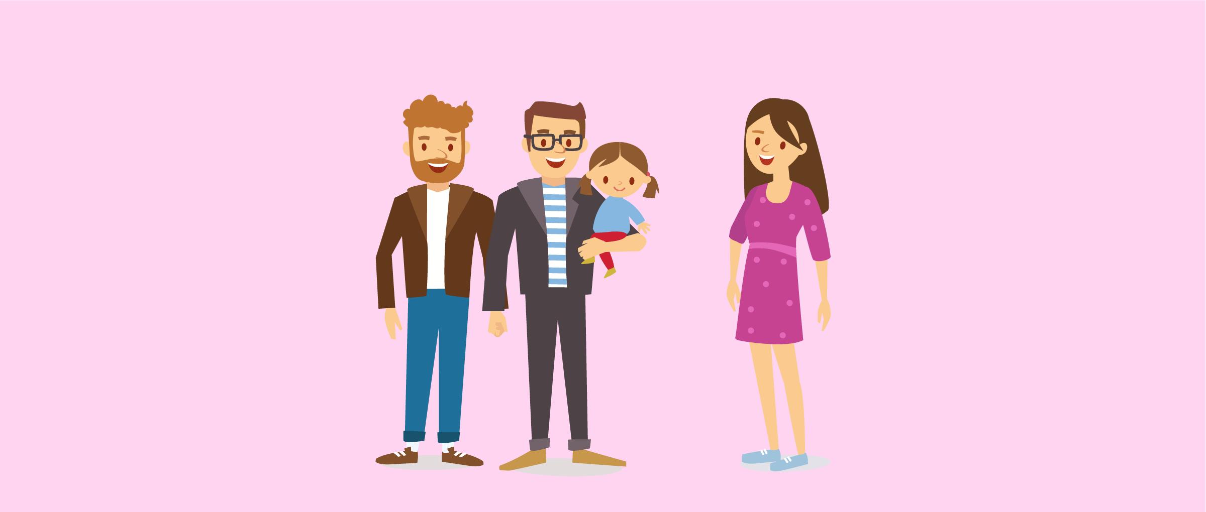 Relación entre los padres gays y la madre subrogada